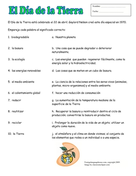 Spanish Earth Day Matching Handout