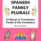 Spanish Family & Plurals - 25 Vocabulary Translations Worksheet