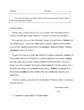 Spanish Future tense reading practice sheet El futuro en espanol