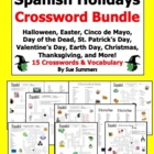 Spanish Holidays Crossword Puzzle and Vocabulary BUNDLE of 9