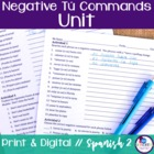 Spanish Negative Tú Commands bundle