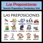 Spanish Prepositions Vocabulary Activities & Games Unit  P