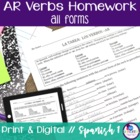 Spanish Regular -AR verbs Homework