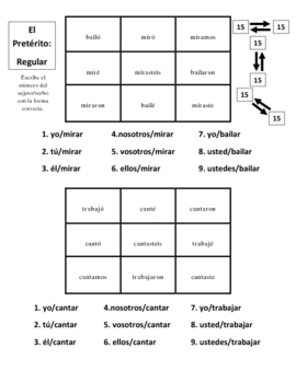 Spanish Regular and Irregular Preterite Activities- 7 Pages