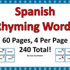 Spanish Rhyming Words 240 Cards - Tarjetas de Rimas en Espanol