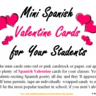 Spanish Valentine's Day Poem Teacher to Student Mini Card