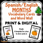 Spanish and English Month Cards and Word Wall
