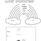 Spanish colors- coloring page with rainbow and colors
