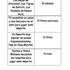 Spanish sports vocabulary matching cards