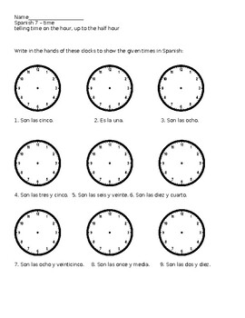spanish telling time worksheets - laveyla.com