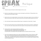 Speak by Laurie Halse Anderson Final Project