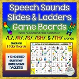 Speech Sounds Slides & Ladders  S, TH, R, L & SH Game boar