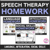 Speech Therapy Weekly Homework Bundle: Language, Articulat