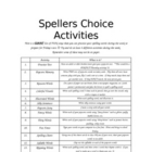 Spellers Choice Activities