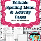 Spelling Activites and Homework Worksheets