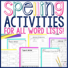 Spelling Activities Fun Practice Pack!