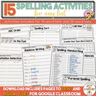 Spelling Activities for ANY Spelling List - Just Print and