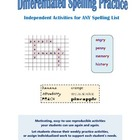 Differentiated Spelling Practice: Independent Activities f