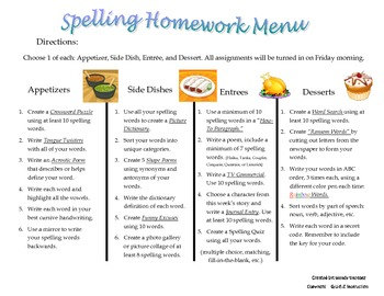 Spelling Homework Menu