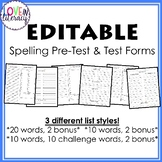 Spelling PreTest and Test paper
