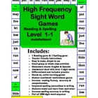 Spelling & Reading High Frequency Sight Word Game Boards L