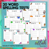 Spelling Test Sheets (20 Word Test)