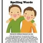 Spelling Words - Words Writers Use - Basic Word Work Packet
