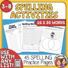Spelling Printables, 54 Activities for 16 or 20 words - Us