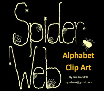 Spider Web Alphabet Clip Art in Ivory - SAMPLER