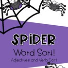 Spider Word Sort {Verbs and Adject}