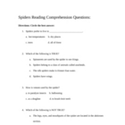 Spiders Webquest or Research Comprehension Sheet
