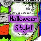 Making Complete Sentences Spin-a-Sentence Halloween Style