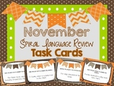 Spiral Language Review Task Cards-November FREE