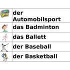 Sportarten (Sports in German) word wall