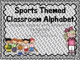 Sports Themed Classroom Alphabet with Geometric Shape Background