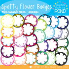 Spotty Flower Badges / Circle Frames - Graphics From the Pond