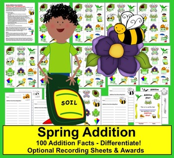 Spring Addition Math Centers Spring Activities -3 Ways to Play