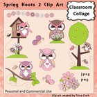 Owl Clip Art Spring Hoots 2  Color  personal & commercial use