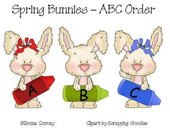 Spring Literacy Center - ABC Order Bunnies