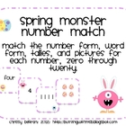 Spring Monster Number Match: Easter Monsters