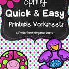 Spring Quick & Easy Printable Worksheets - A freebie from
