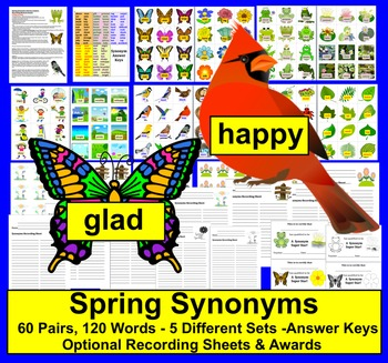 Spring Literacy Centers Synonyms: 60 Pairs - 120 Words - 3