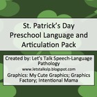 St. Patrick's Day Preschool Language and Articulation Packet