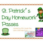 St. Patrick's Day homework passes
