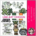 St Patrick's day LINE ART bundle by melonheadz