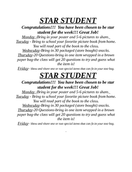 Star Student for the week!