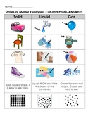 States Of Matter Examples Cut and Paste -4 different level