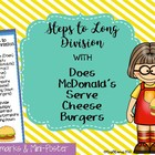 Steps to Long Division Bookmarks and Poster With DMSCB