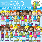 Stick Kids Feelings Emotions - Clipart for Teaching