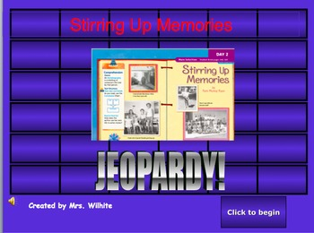 Stirring Up Memories Jeopardy Game (2nd Grade Treasures Story)